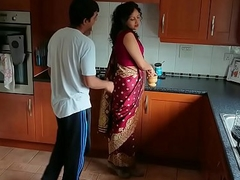 Red saree Bhabhi caught heeding porn seduced and fucked by Devar dirty hindi audio desi chudai leaked scandal sextape bollywood POV Indian